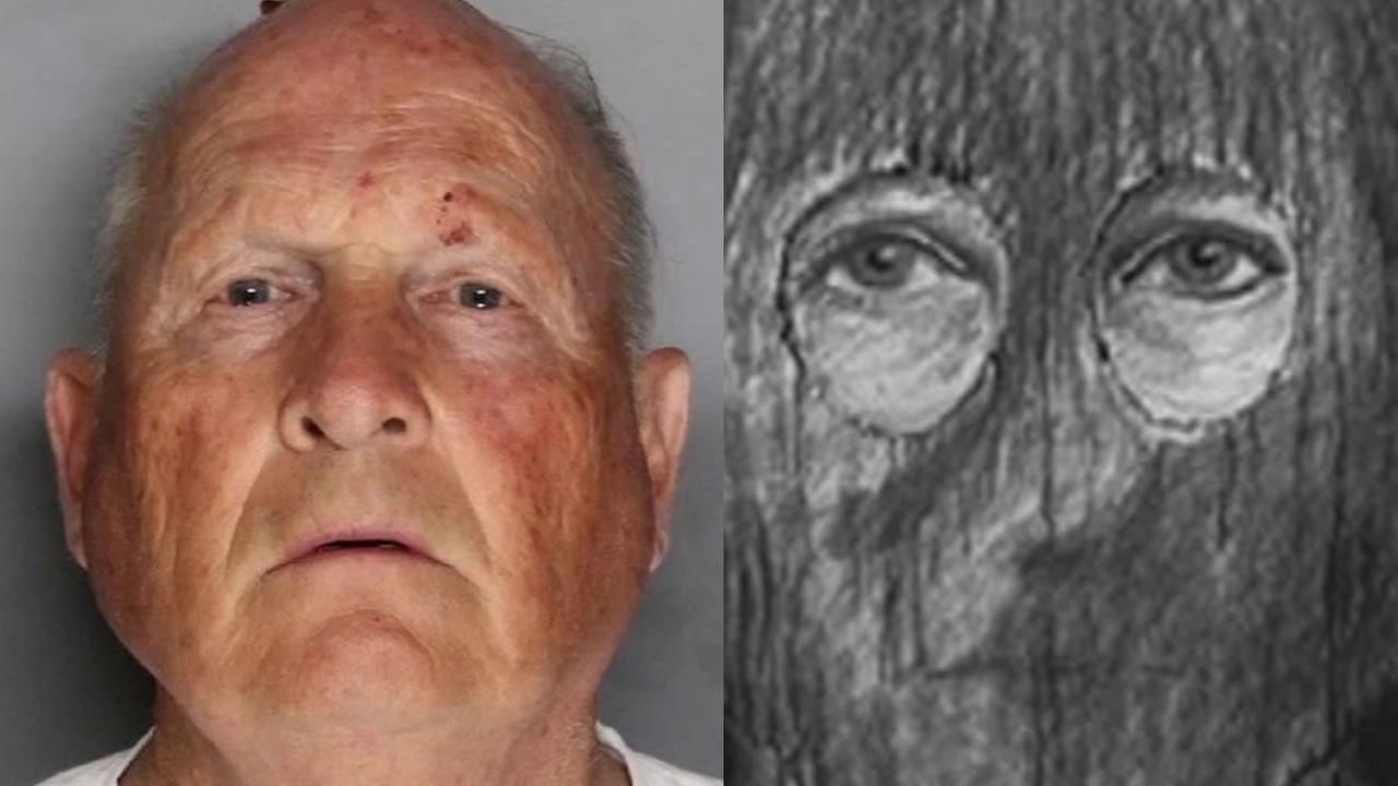 This split image shows the mugshot of Joseph James DeAngelo and a sketch of the Golden State Killer.
