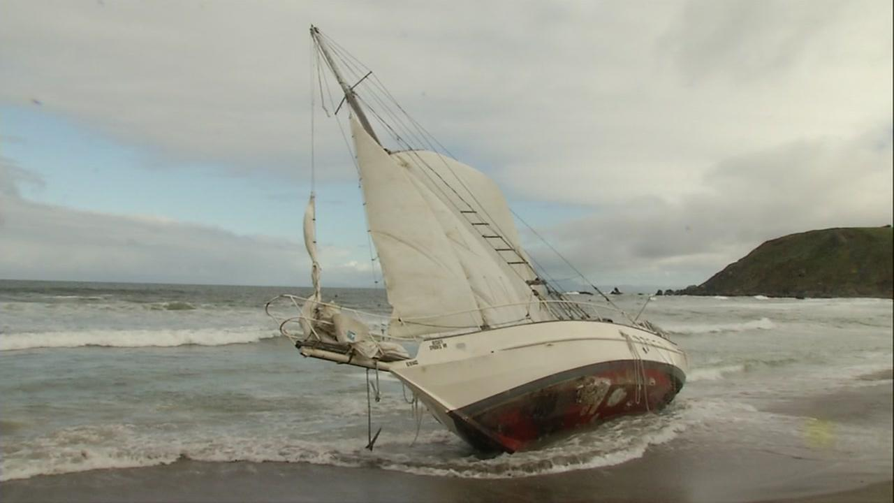 A boat is seen on a beach in Pacifica, Calif. on Sunday, April 29, 2018.