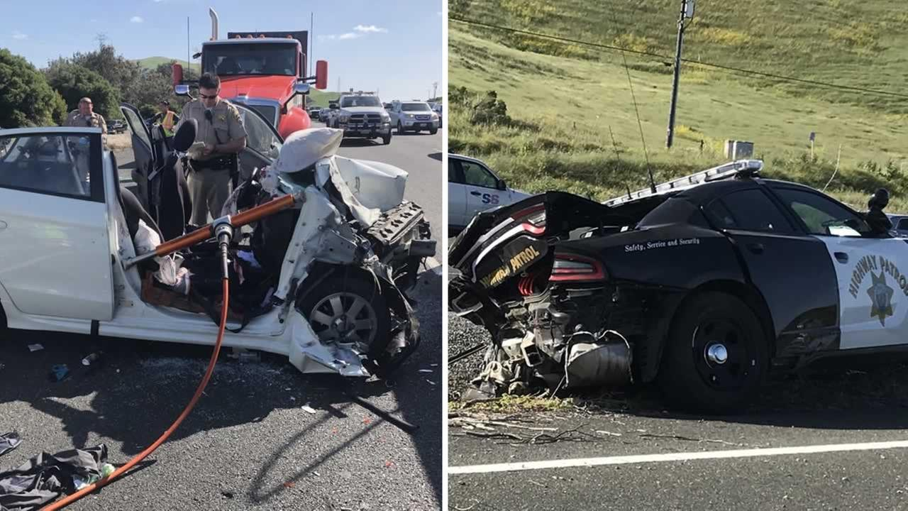 A CHP officer and several other people were taken to the hospital after a two-car crash on eastbound Highway 80 in Fairfield Monday afternoon.