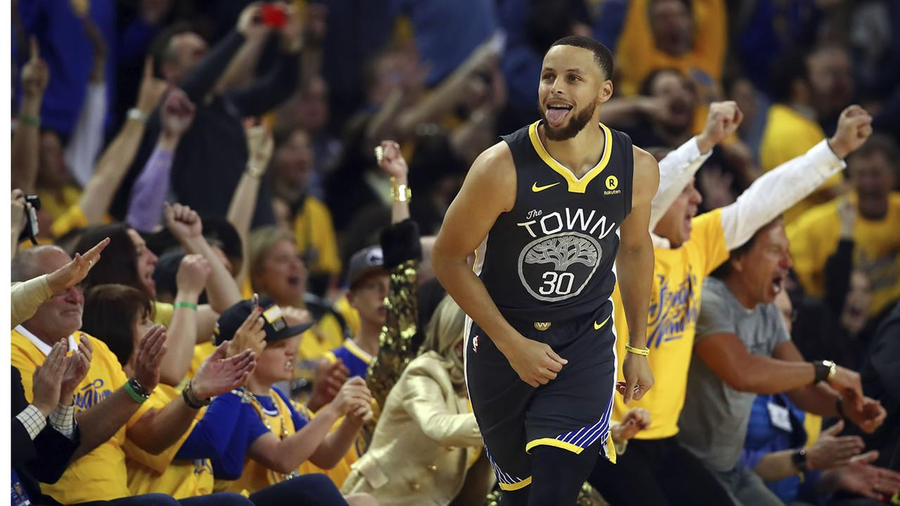 Stephen Curry floats down the court in Oakland, Calif. during Game 2 of Round 2 of the NBA Playoffs on Tuesday, May 1, 2018.