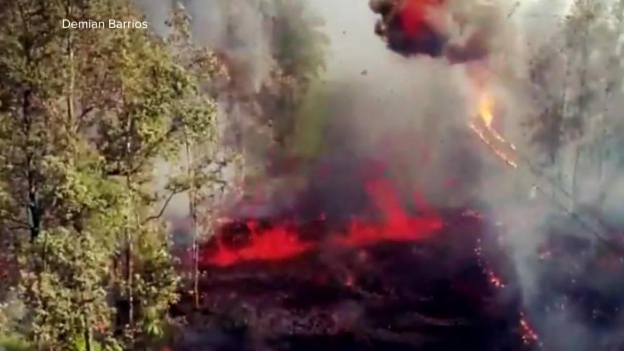 Lava from the Kilauea Volcano in Hawaii on Friday, May 4, 2018.