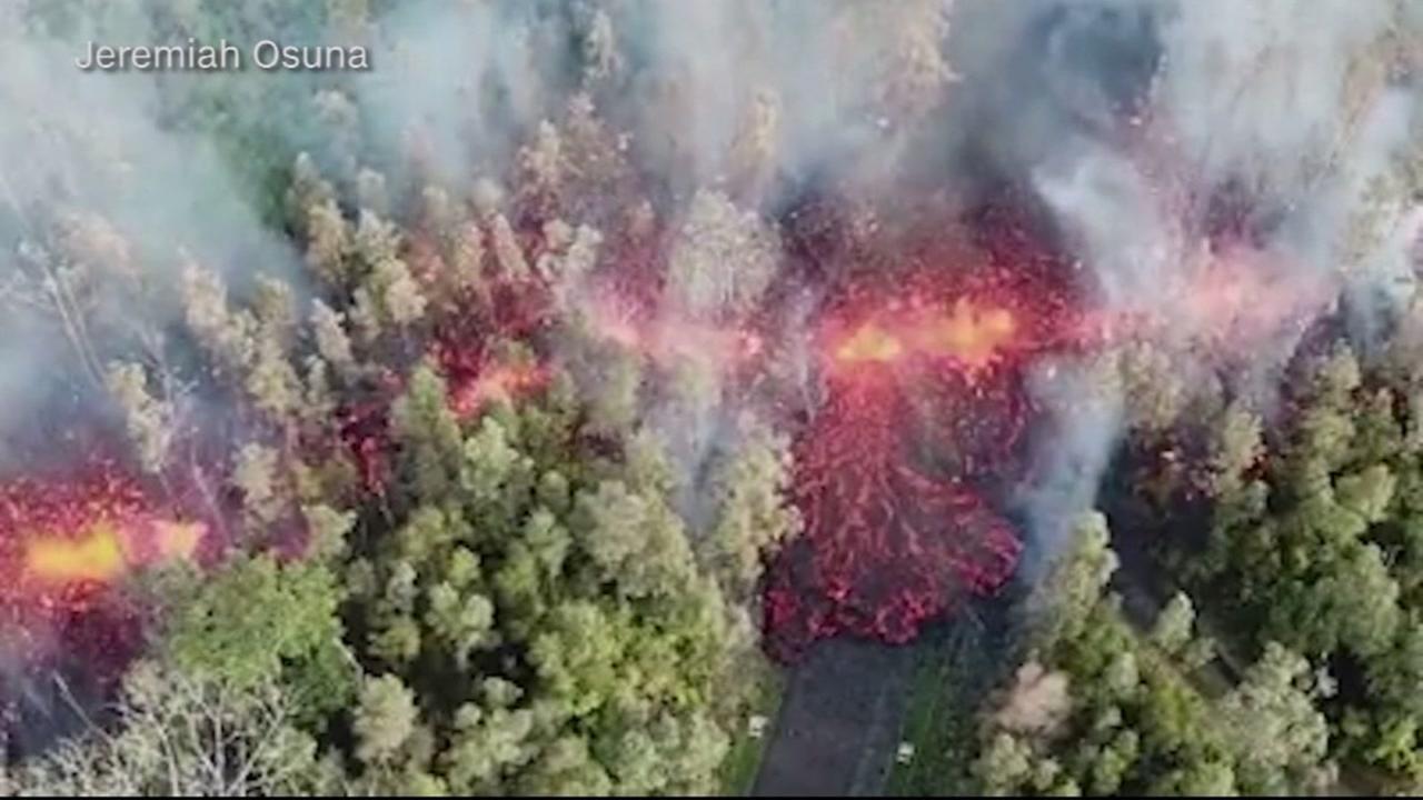 Lava from the Kilauea Volcano is seen in Hawaii on Friday, May 4, 2018.