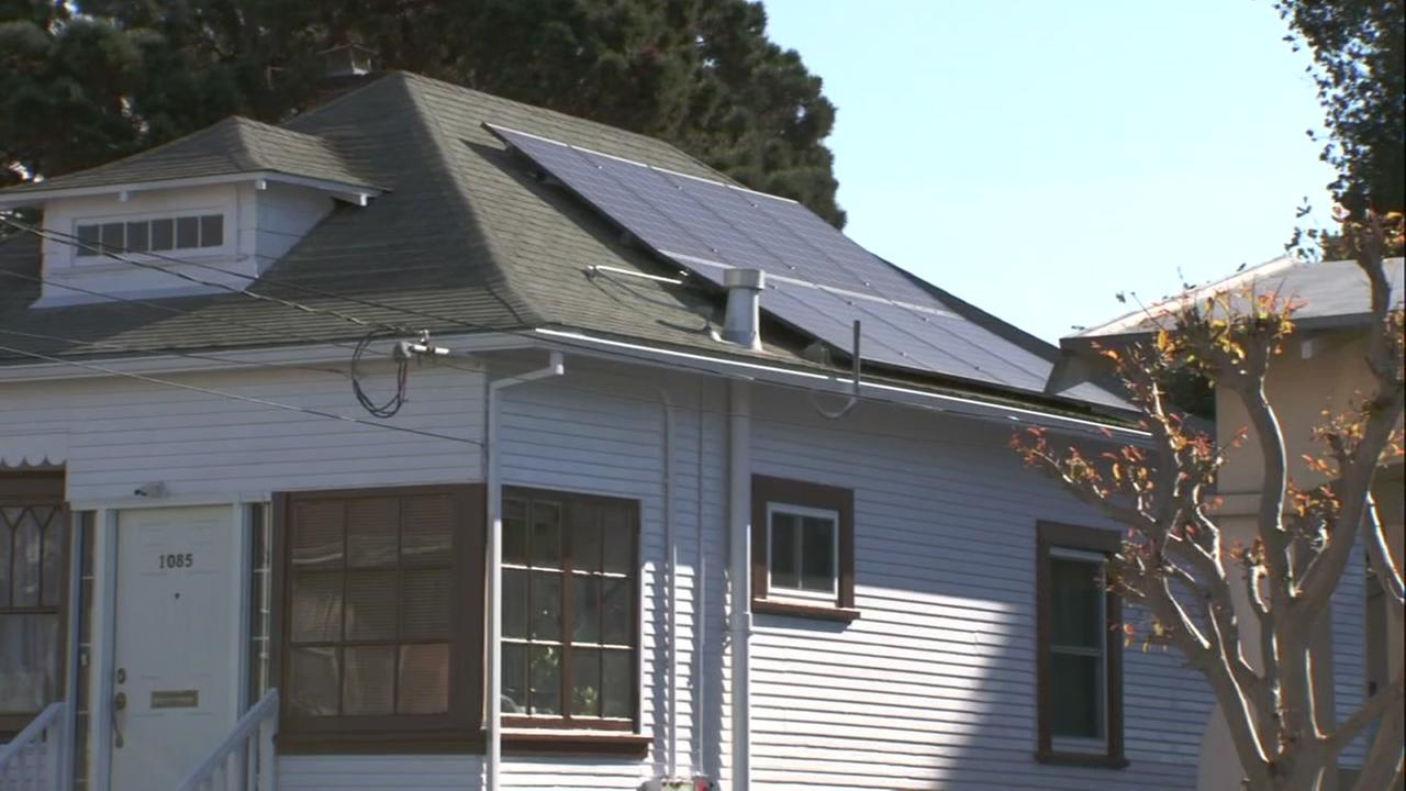 Solar panels appear on a home in Santa Clara, Calif. on Monday, May 7, 2018.
