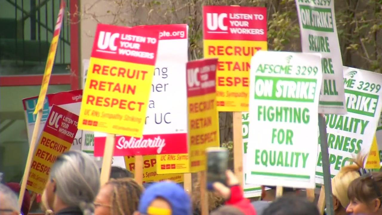 UC workers continue their strike for better wages and less outsourcing in San Francisco on Tuesday, May 8, 2018.