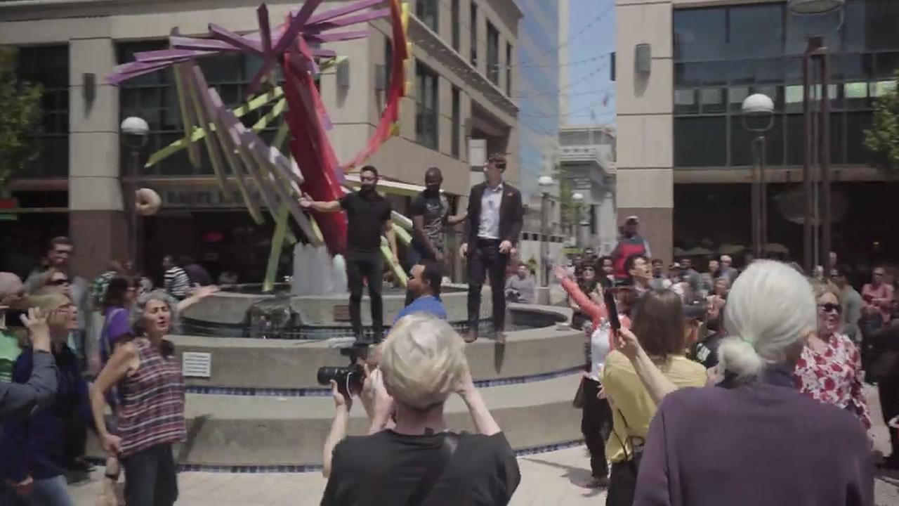 A flash mob took place at Oakland City Center on Tuesday, May 8, 2018.