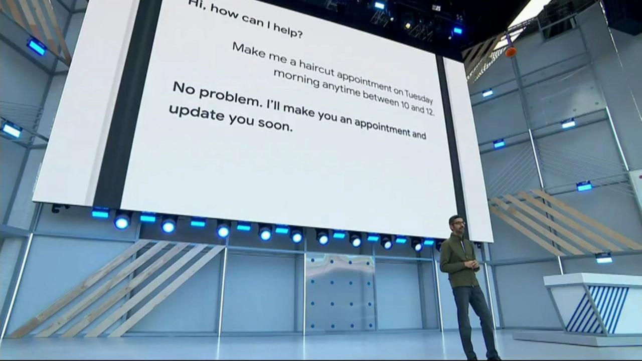 Googles CEO Sundar Pichai gives the keynote address at Googles Developer Conference in Mountain View, Calif. on Tuesday, May 8, 2018.