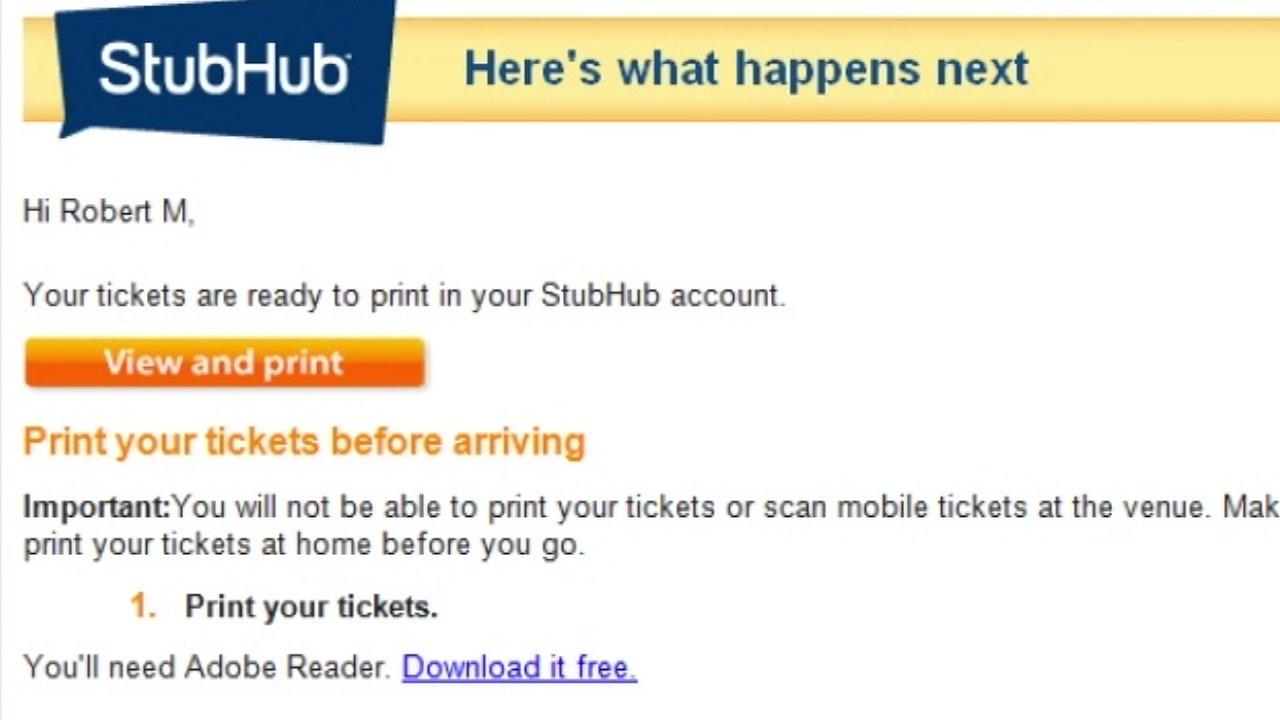 A Stub Hub digital receipt is pictured on this screenshot taken on Thursday, May 10, 2018.