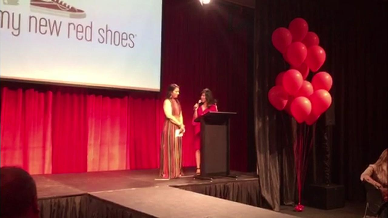 ABC7 News Anchor Kristen Sze emcees a fundraiser for My New Red Shoes in Mountain View, Calif. on Saturday, May 12, 2018.