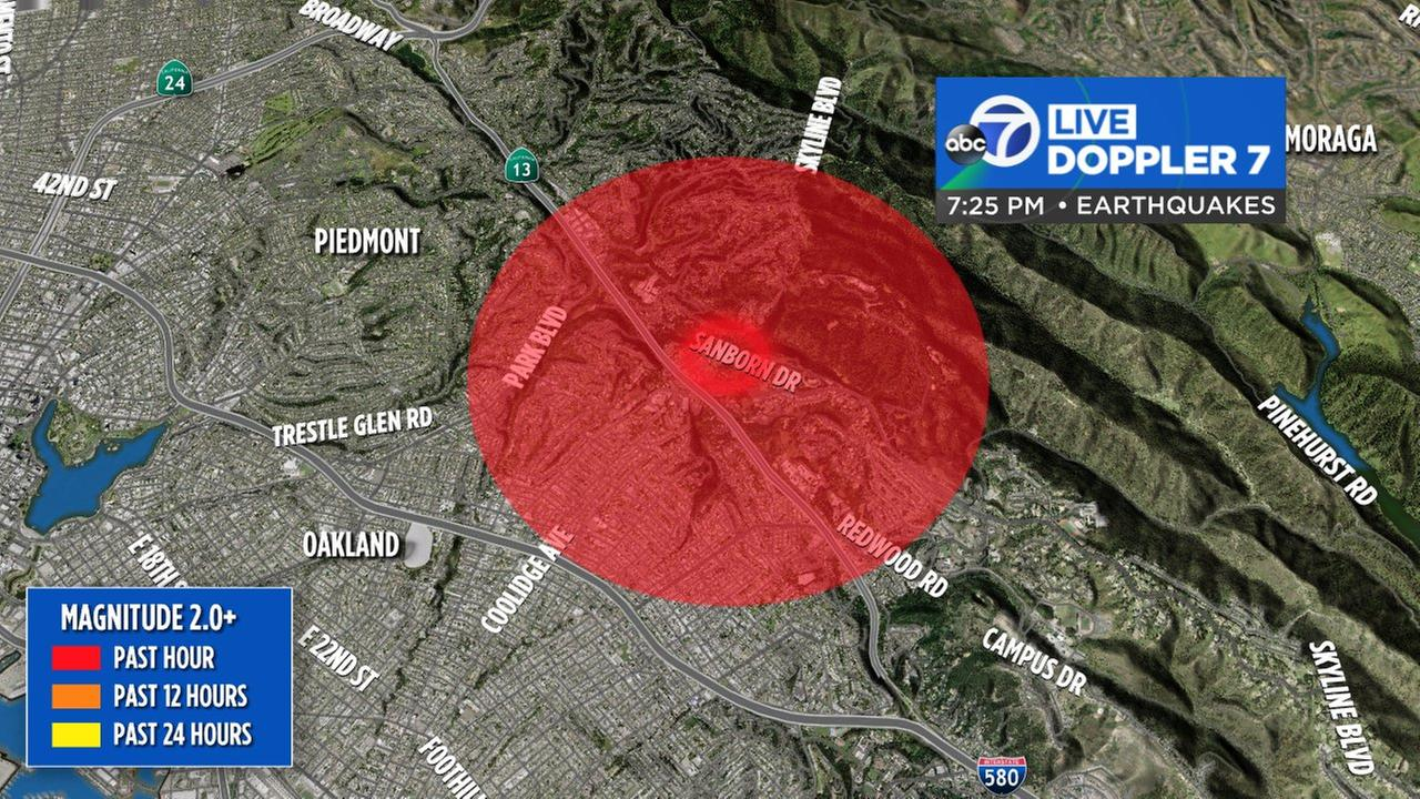 This graphic shows the area where an earthquake hit the Oakland, Calif. area on Monday, May 14, 2018.