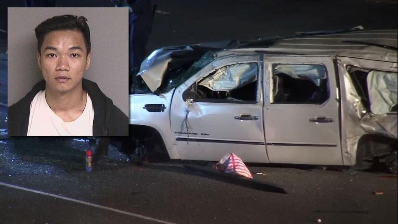 Dang Tran appears in this split image showing a fatal car accident he is accused of causing in Fremont, Calif. on Tuesday, May 15, 2018.