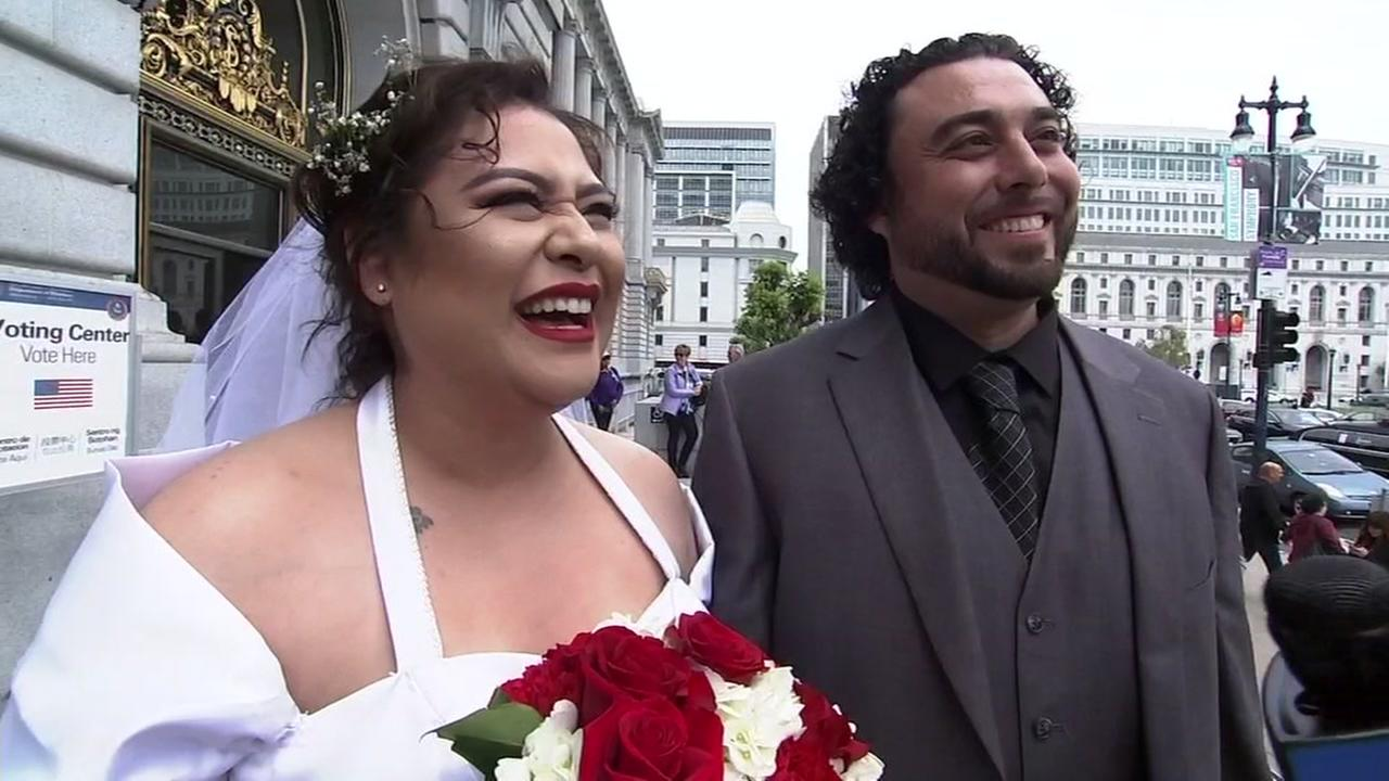 A couple getting married at San Francisco City Hall talks to ABC7 News on Friday, May 18, 2018.