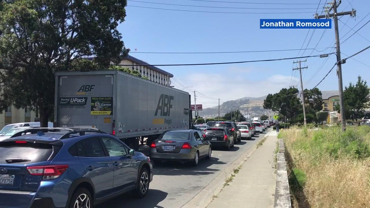Traffic appears in San Bruno, Calif. as a bridge repair causes a backup.