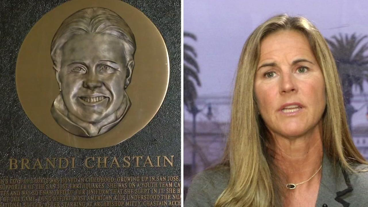 FILE -- Plaque at Bay Area Hall of Fame of Brandi Chastain.