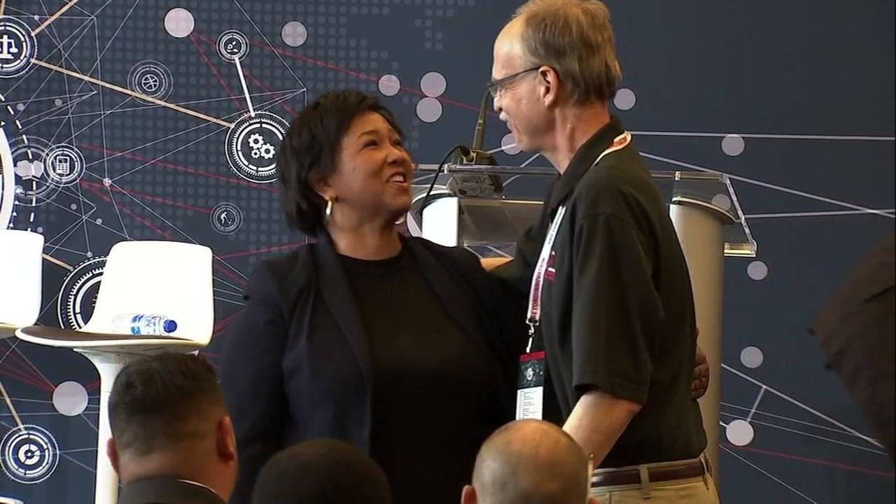 Dr. Mae Jemison reunites with Dan Anisman at the Beyond Innovation Conference at Levis Stadium on Wednesday, May 23, 2018 in Santa Clara, Calif.