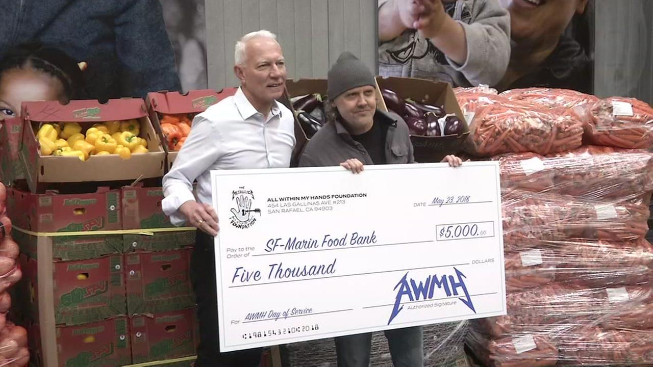 Metallicas Lars Ulrich poses with a check for the SF-Marin County Food Bank on Wednesday, May 23, 2018 in San Francisco.