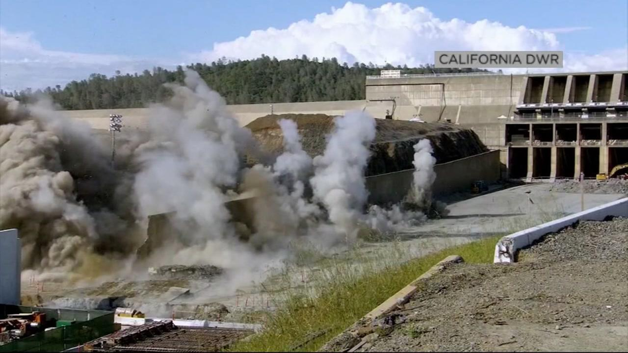 A controlled explosion goes off at Oroville Dam in Bute County, Calif. on Thursday, May 24, 2018.