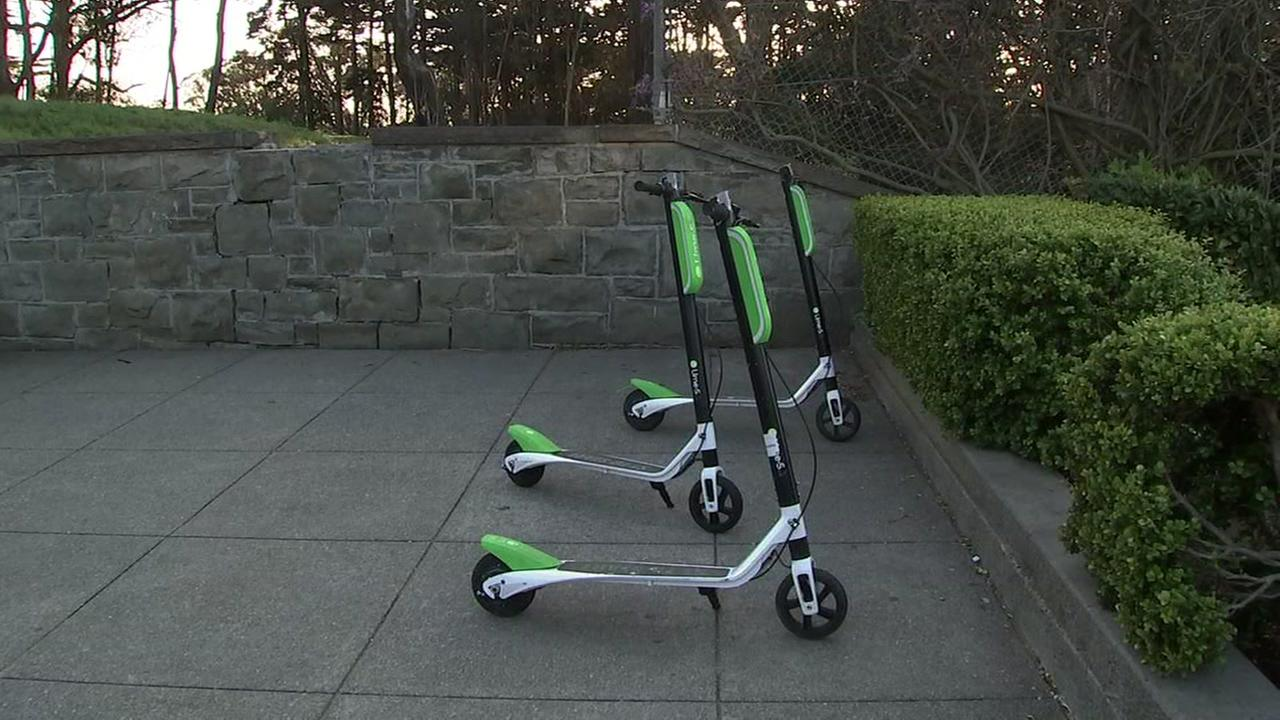 Lime scooters appear in San Francisco in this undated image.