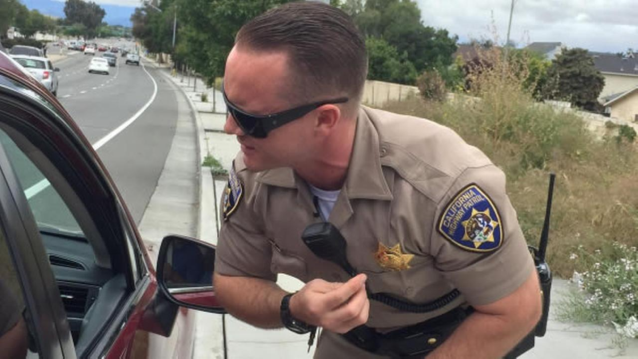 A CHP officer in San Jose, Calif. is seen on Friday, May 25, 2018.