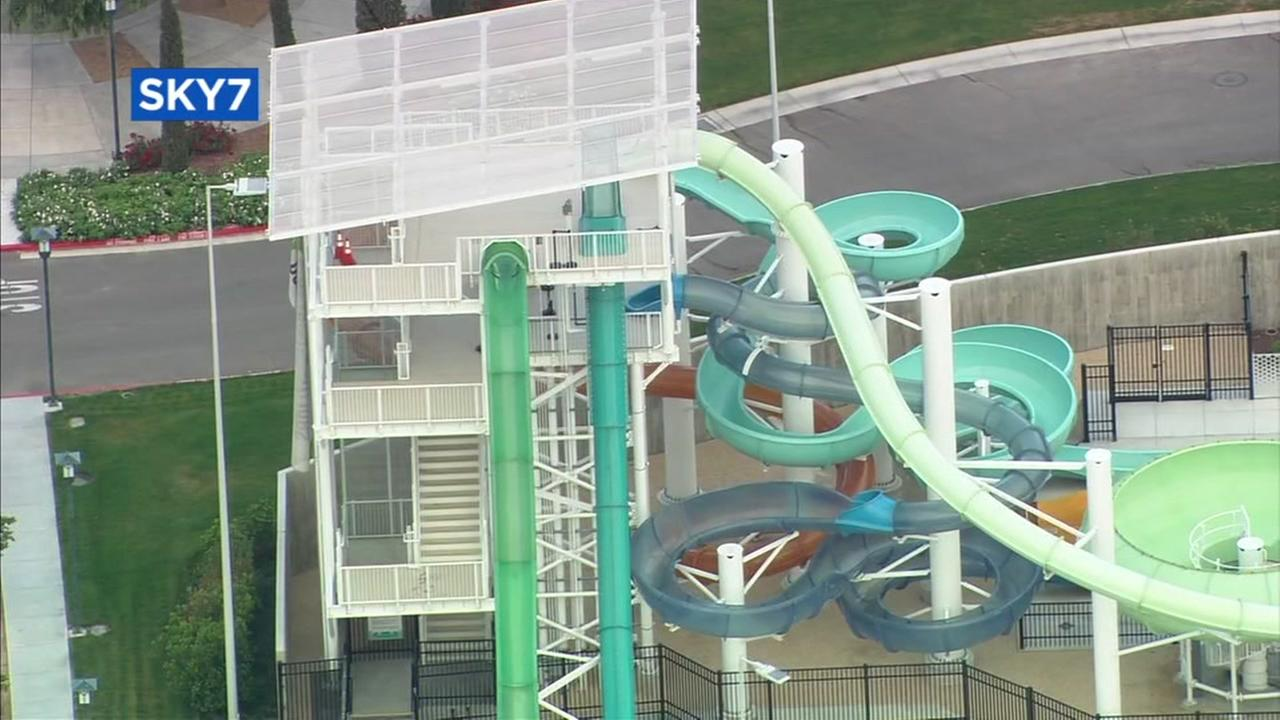 The water slide that injured a 10-year-old boy last Memorial Day Weekend appears in Dublin, Calif.