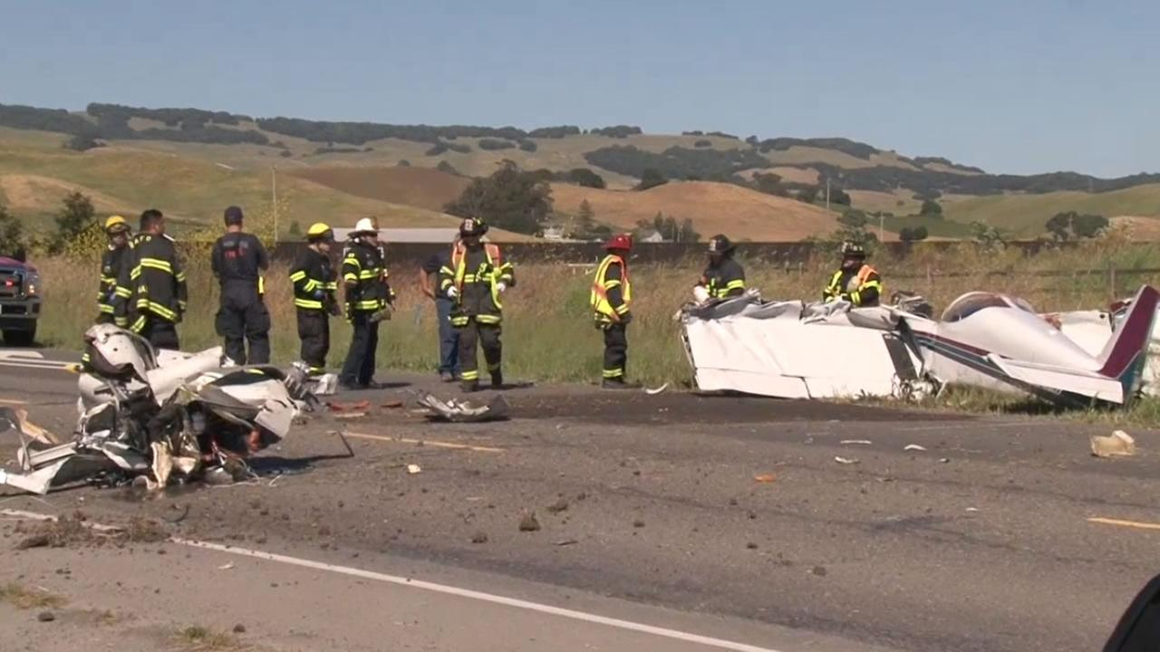 Two people were killed in a small plane crash near the Petaluma Municipal Airport on Sunday, May 27, 2018 in Petaluma, Calif.