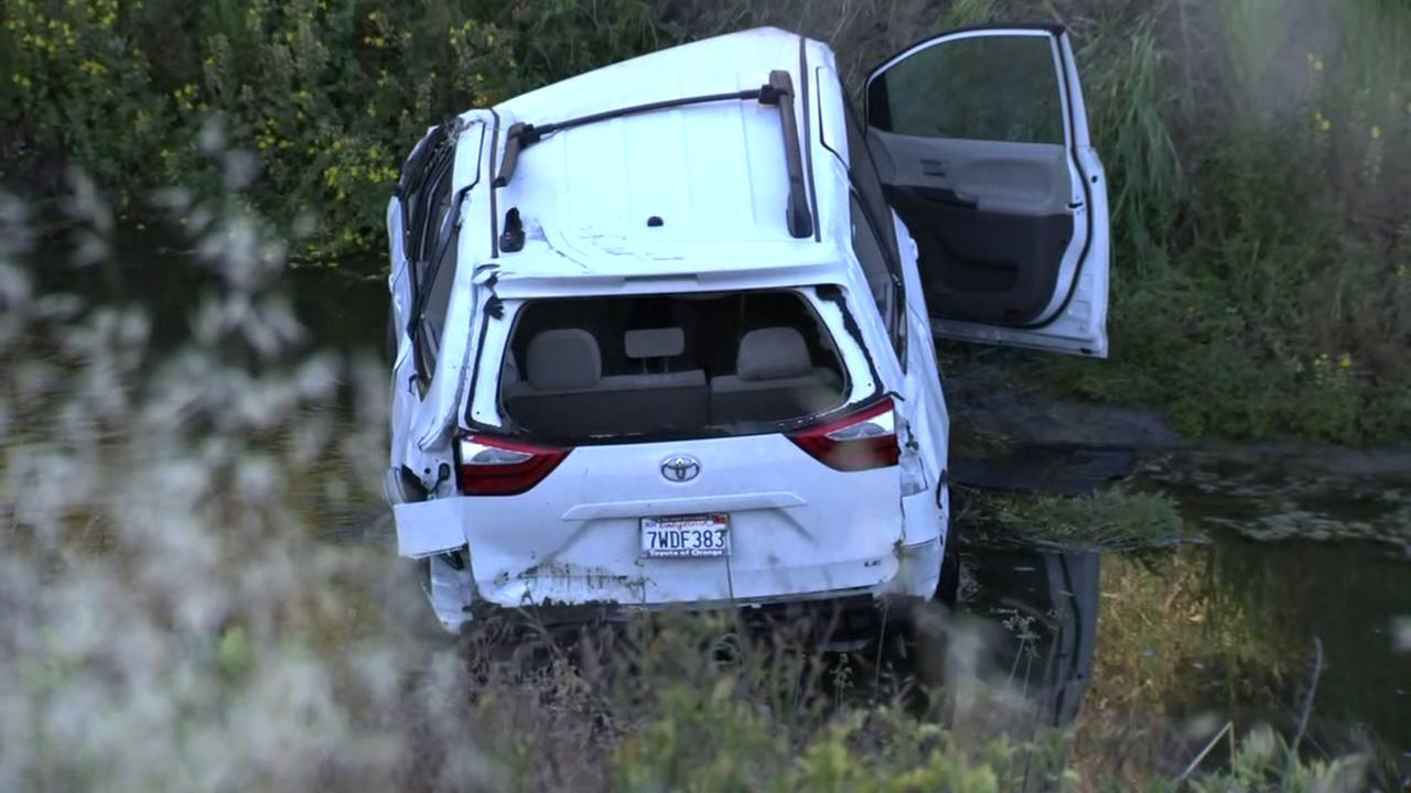 SUV crashes into canal in Pleasanton, California on Monday, May 28, 2018.