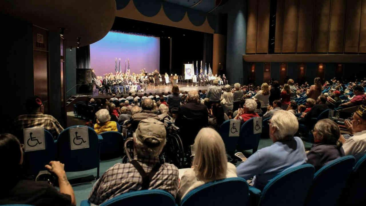 A crowd inside the Veterans Memorial Auditorium in San Rafael, Calif. on Monday, May 28, 2018.