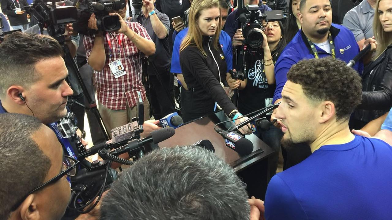 Klay Thompson is surrounded by media ahead of the NBA Finals on Wednesday, May 30, 2018.