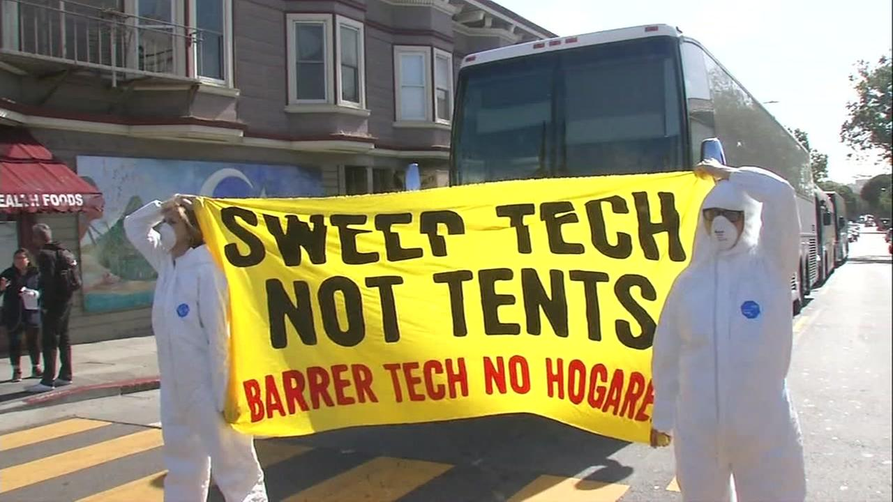 Demonstrators blocked a tech bus in San Francisco on Thursday, May 31, 2018.