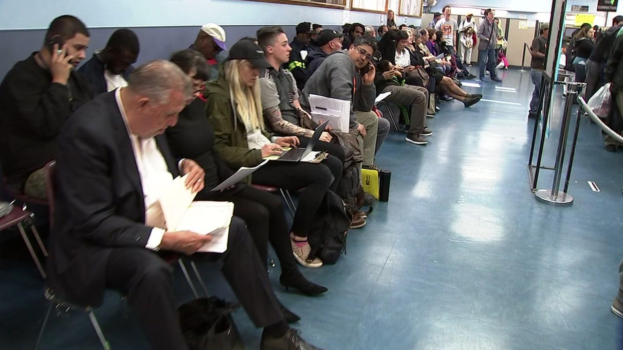 People wait at the DMV in San Francisco on Thursday, May 31, 2018.