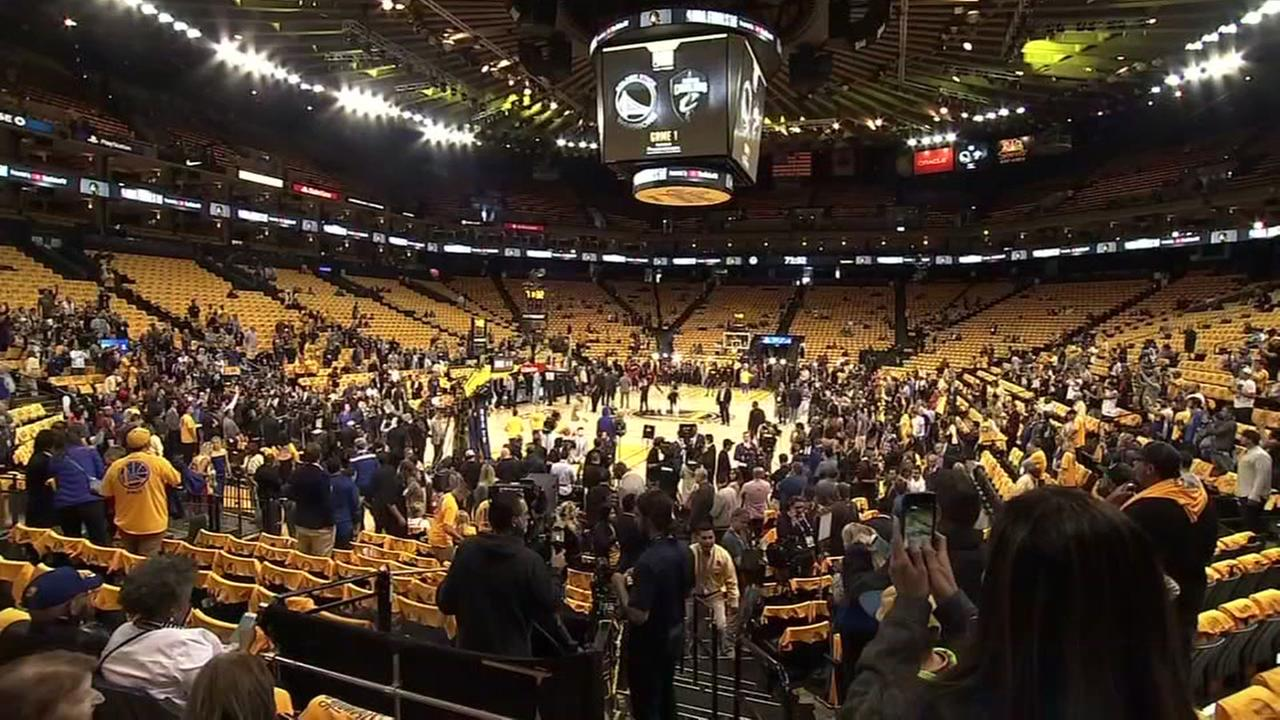 Oracle Arena is filled with Warriors fans during Game 1 of the NBA Finals in Oakland, Calif. on Thursday, June 1, 2018.
