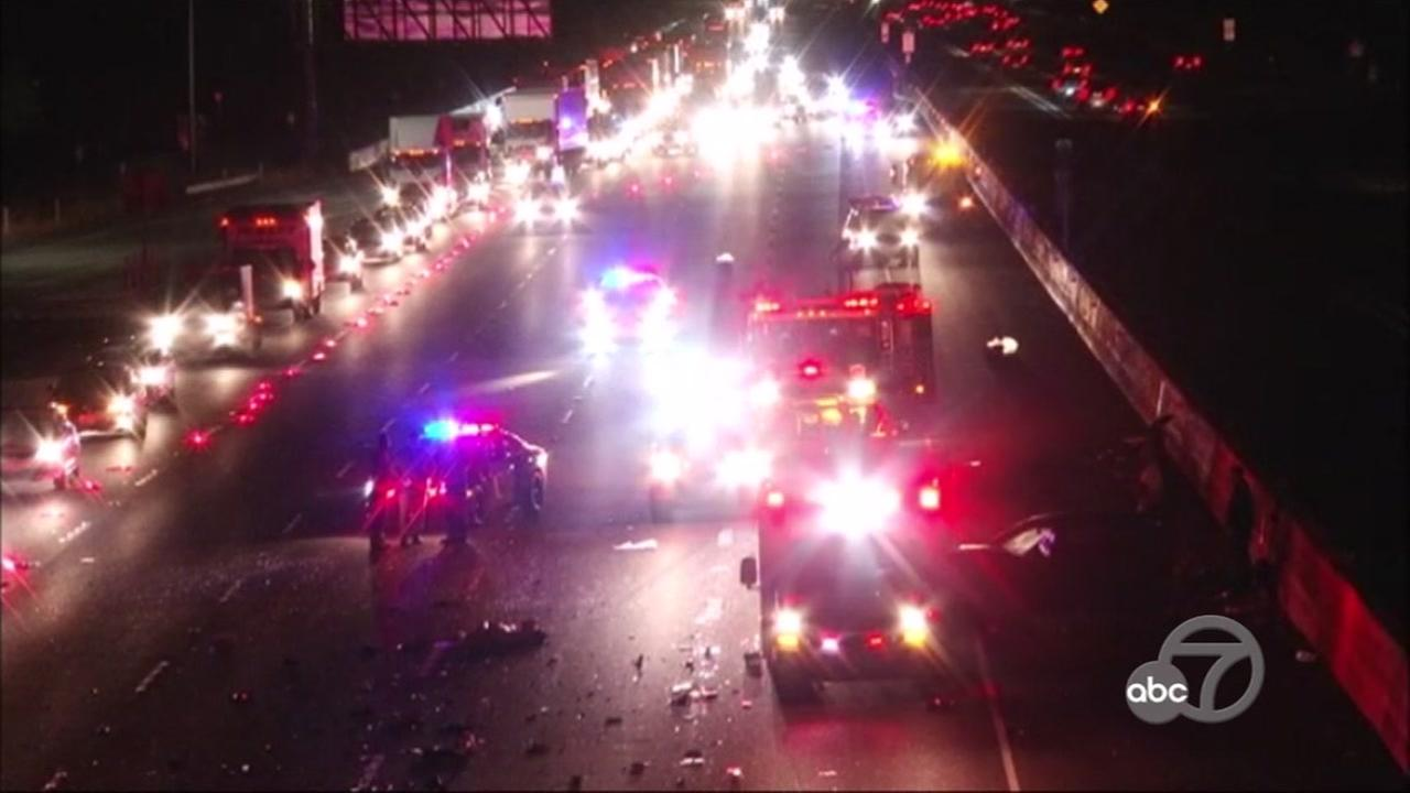 The CHP is investigating a crash that left a pedestrian dead on I-580 in Dublin, Calif. on Saturday, June 2, 2018.