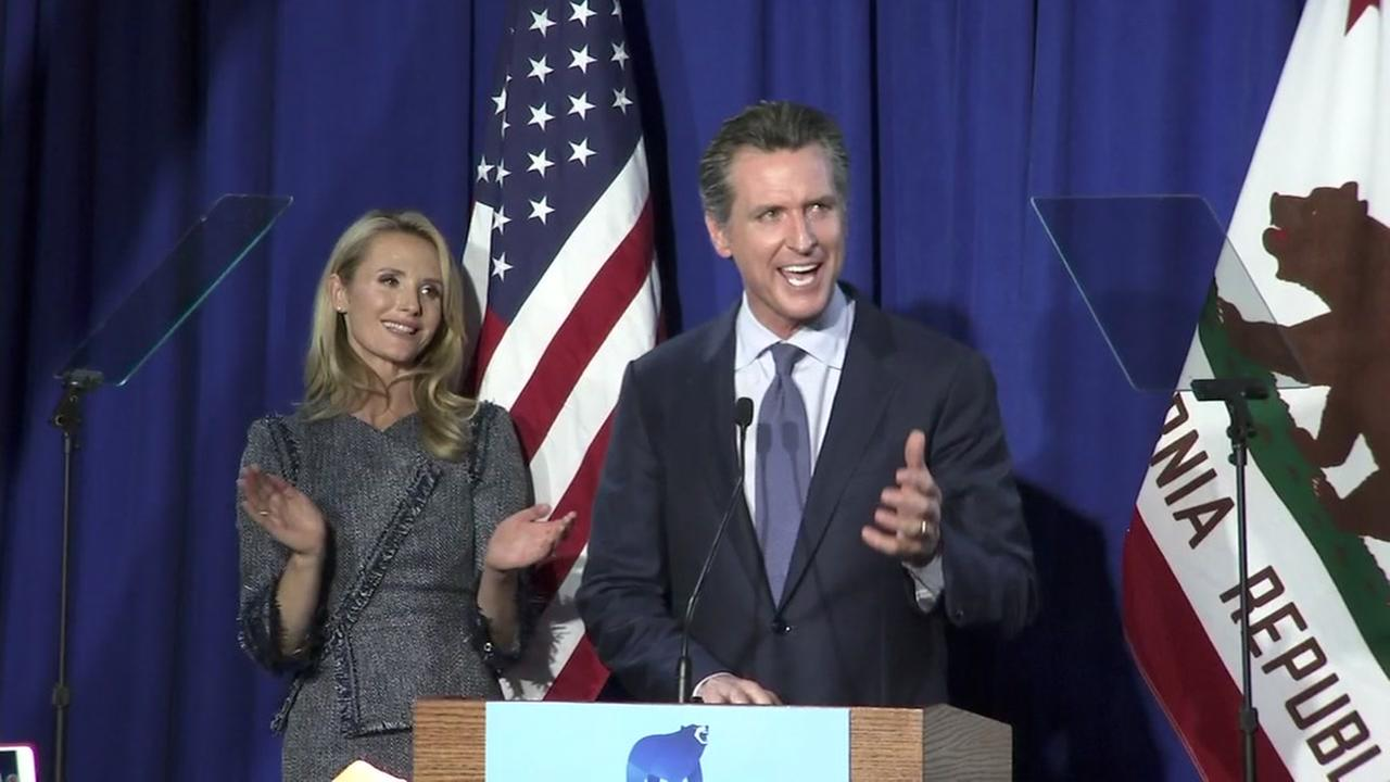 Lt. Gov. Gavin Newsom speaks after his California Primary win in San Francisco on Tuesday, June 5, 2018.
