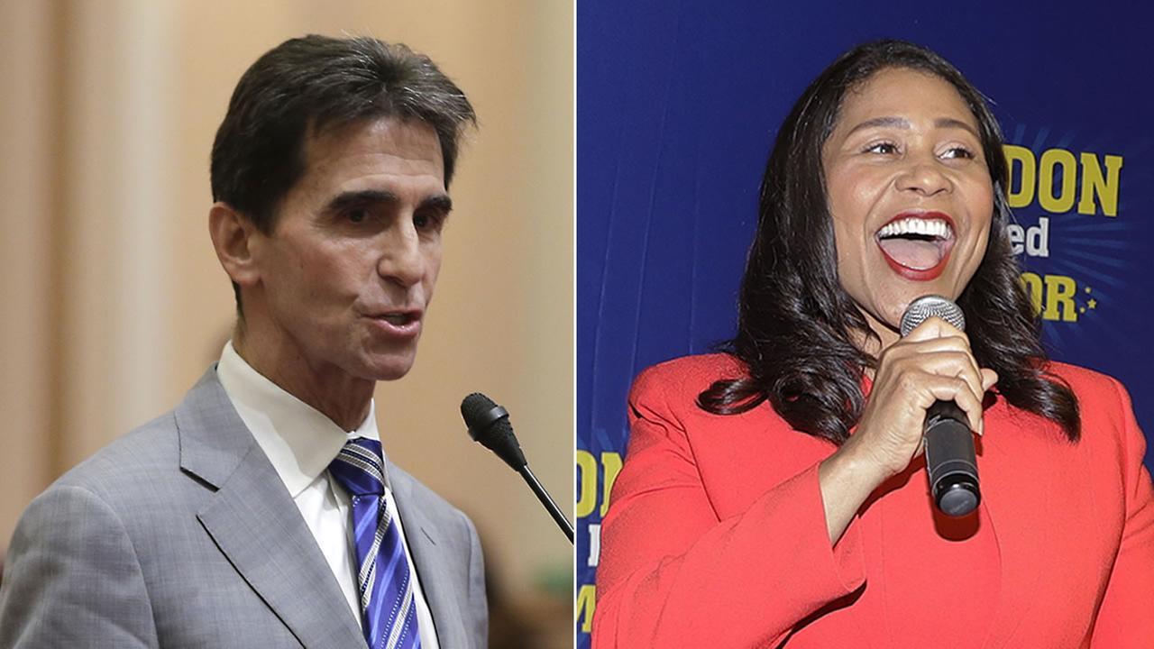 Mayoral candidates Mark Leno, left, and London Breed, right, are pictured.