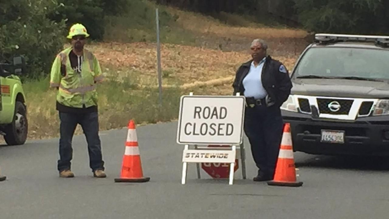 A road closure sign is shown on St. Marys Road between Lafayette and Moraga, Calif. on Thursday, June 7, 2018.