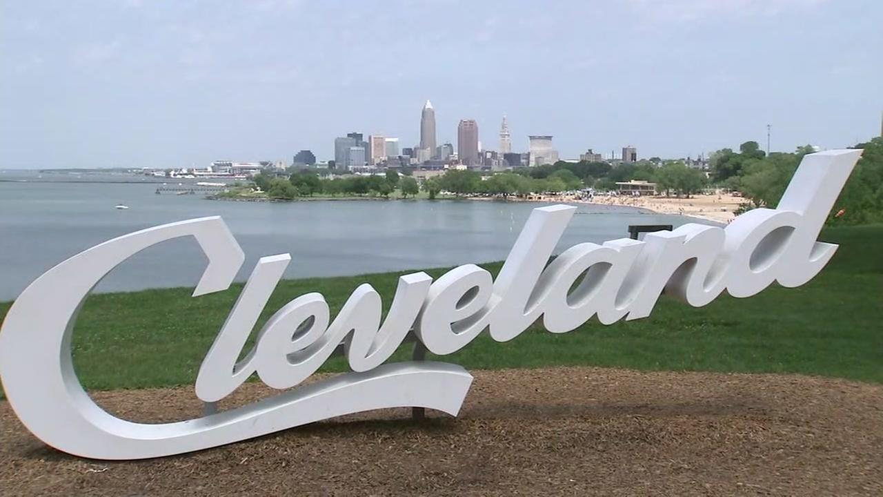 The Cleveland sign appears near Lake Erie in Cleveland, Ohio on Thursday, June 7, 2018.