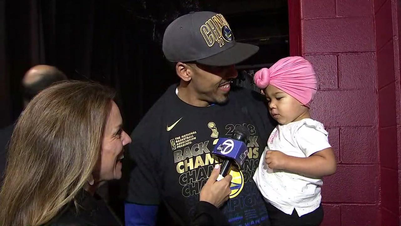Warriors star Shaun Livingston spoke with ABC7s Mindi Bach after the teams victory in Cleveland on June 8, 2018.