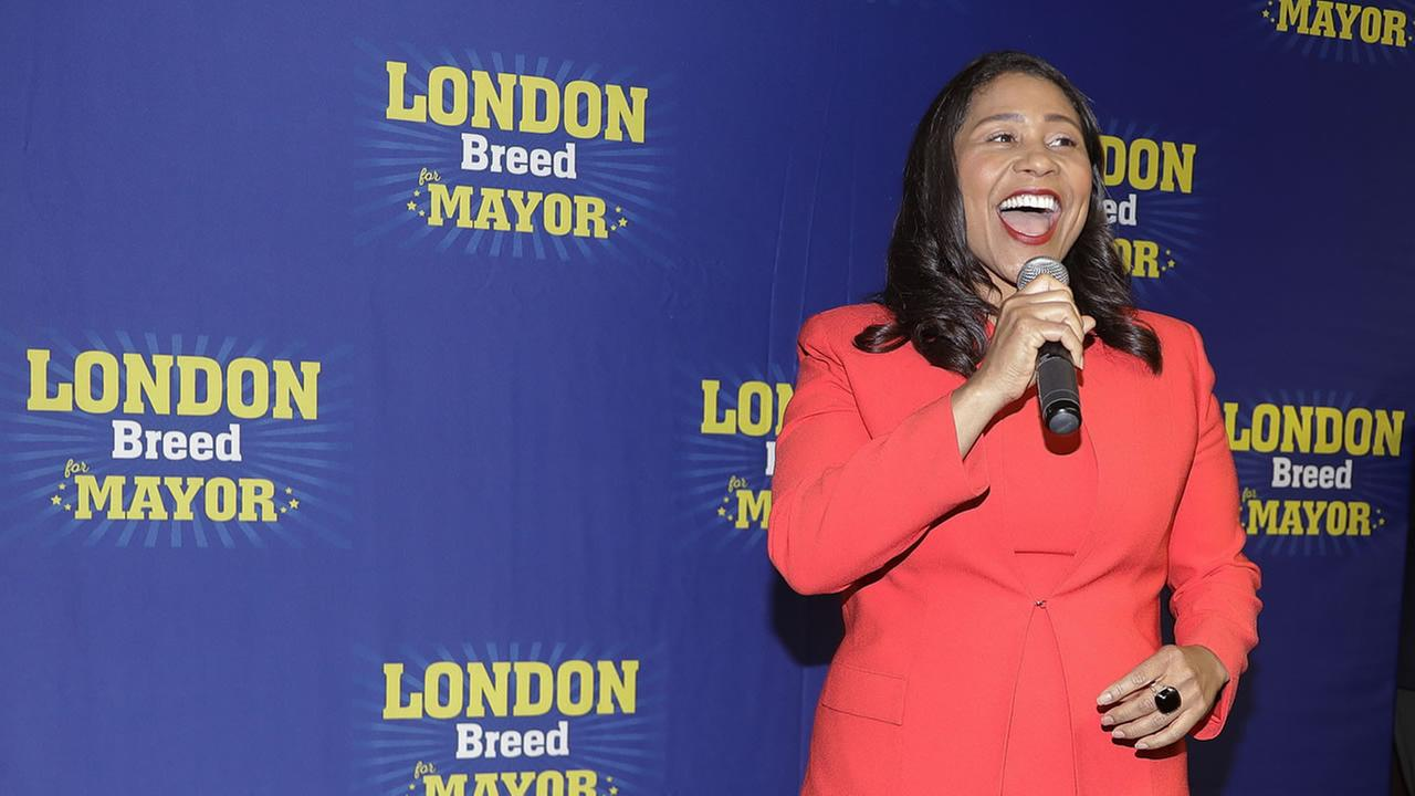 San Francisco mayoral candidate London Breed speaks to supporters during an election night party Tuesday, June 5, 2018, in San Francisco.