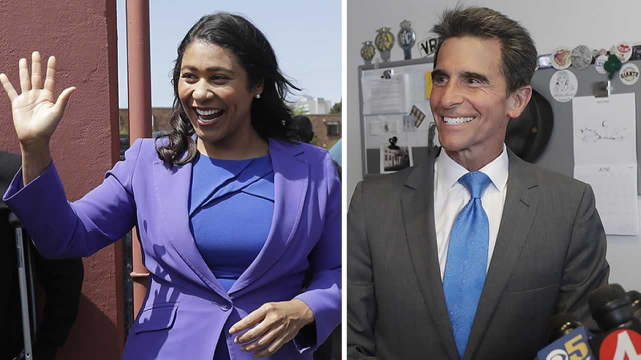San Francisco mayoral candidates London Breed, left, and Mark Leno, right, are pictured.