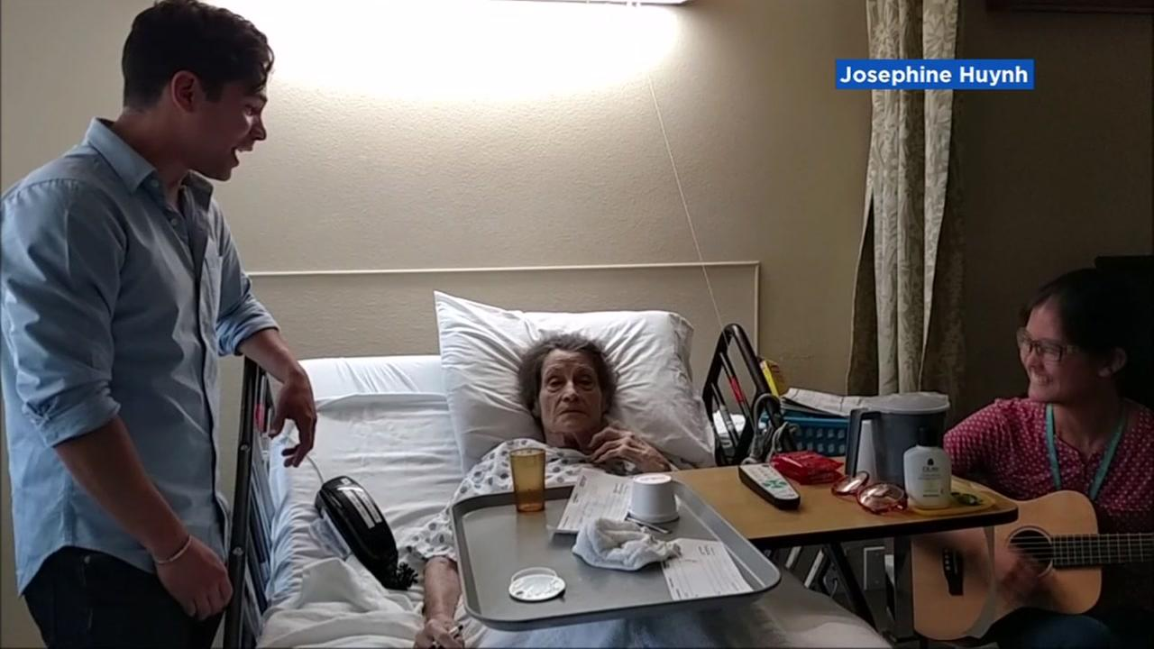 A Jersey Boys actor sings to a San Jose hospice patient in a heartwarming act in this undated image.