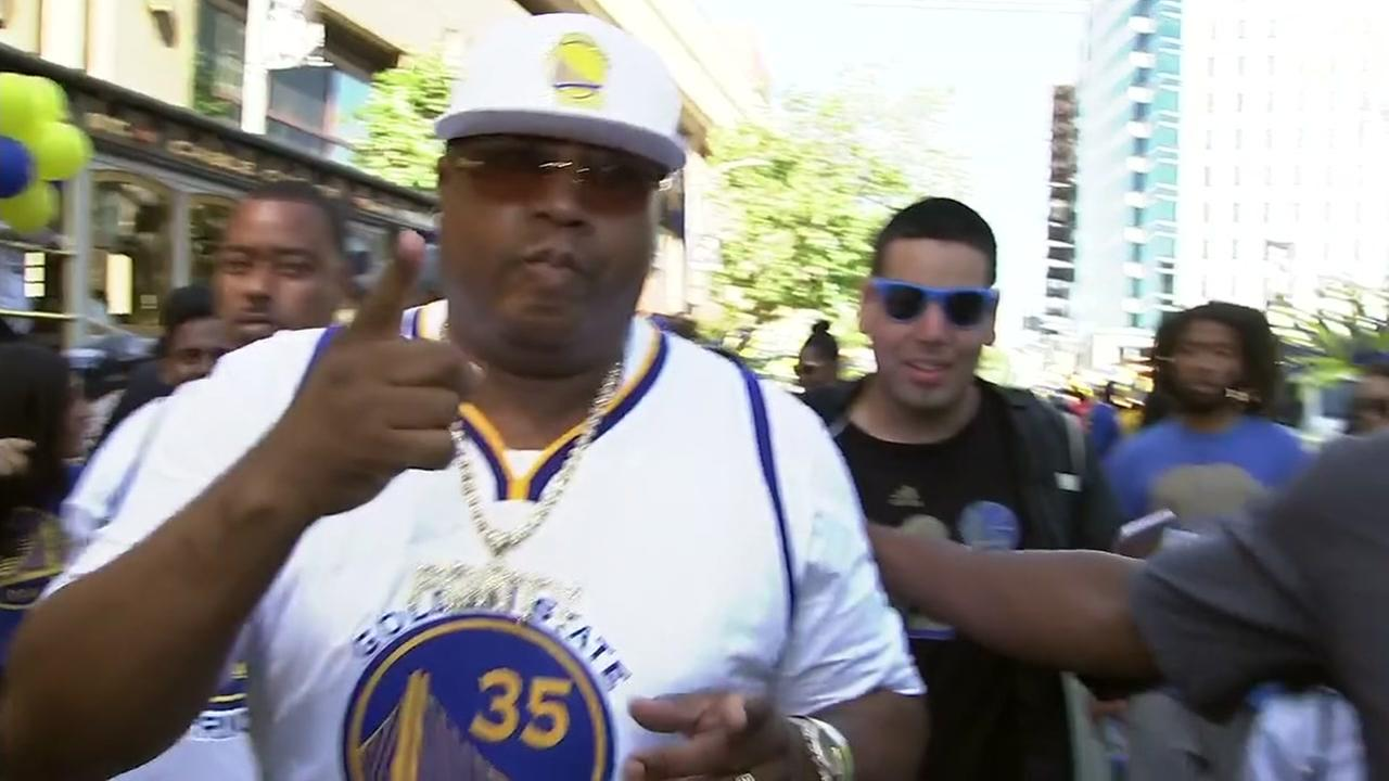 E-40 parties with Dub Nation at the Warriors victory parade on Tuesday, June 12, 2018.