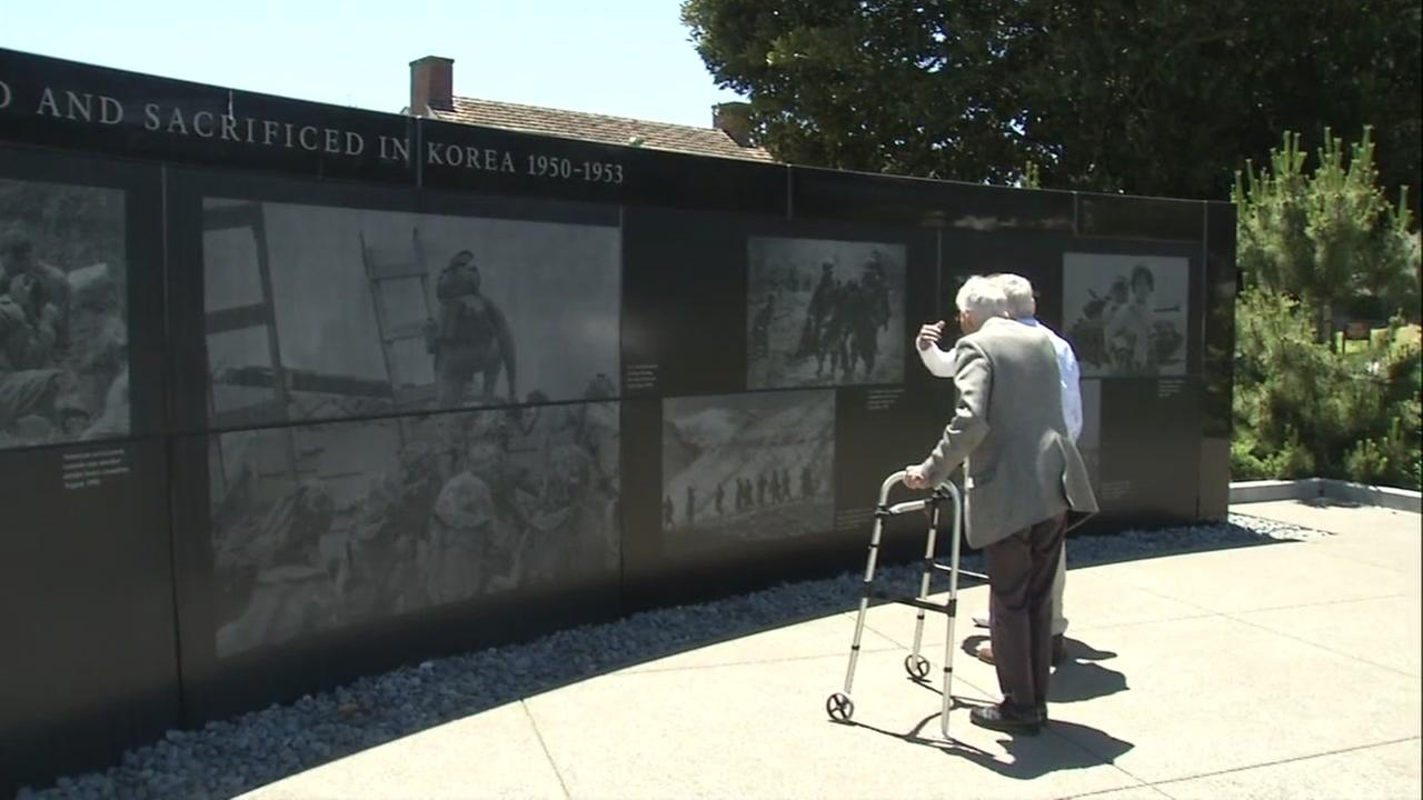 Korean War veterans are seen at the Korean War Memorial in San Francisco, Calif. on Tuesday, June 12, 2018.