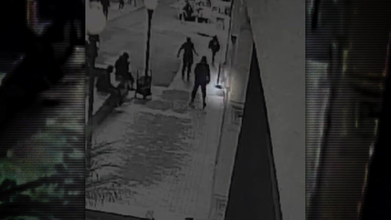 A suspect is seen in a surveillance kicking a small dog on the streets of San Francisco.