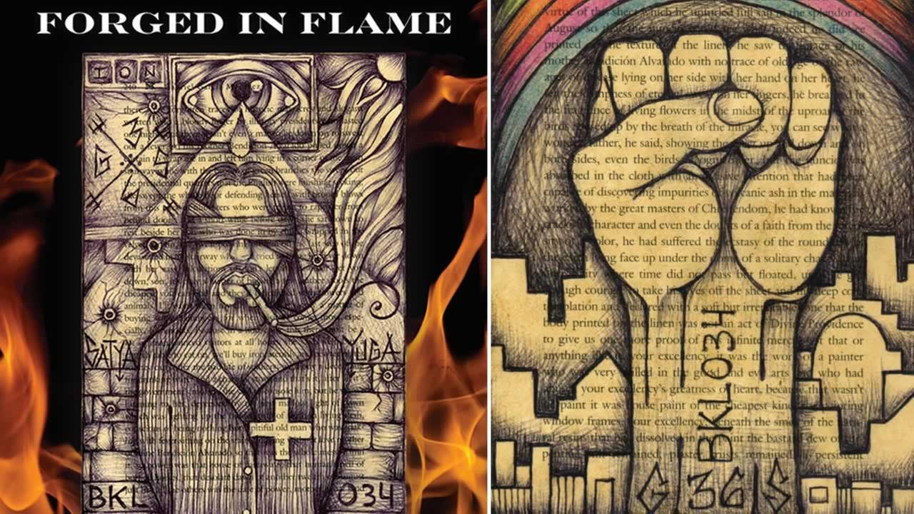 This split image shows artwork featured in Derick Almenas new book.