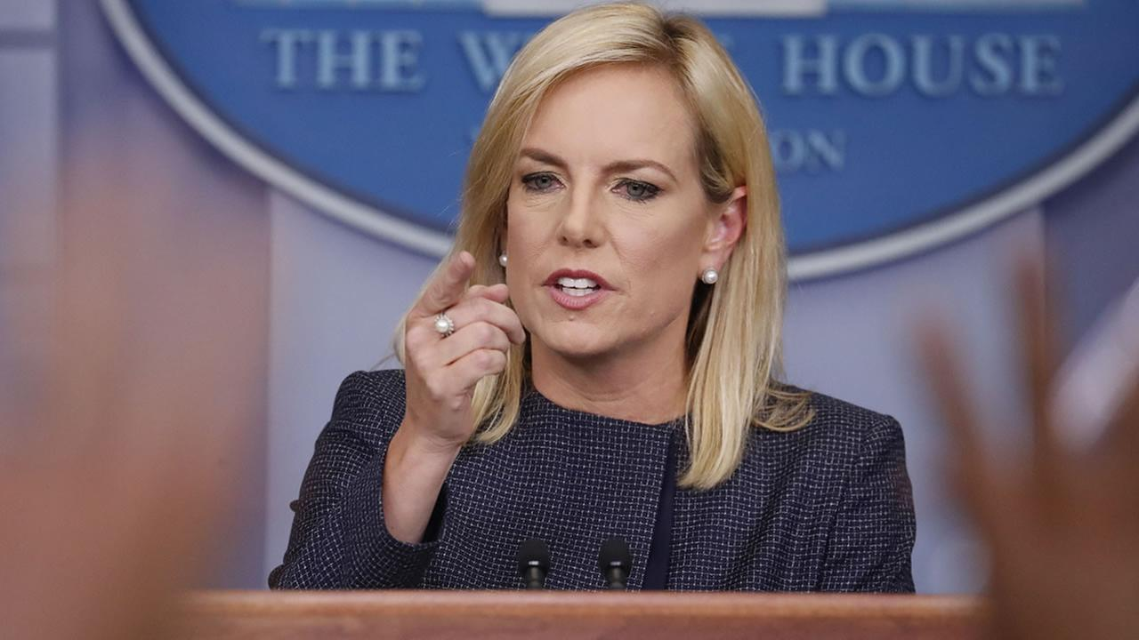 Homeland Security Secretary Kirstjen Nielsen speak to the media during the daily briefing in the Brady Press Briefing Room of the White House, Monday, June 18, 2018.