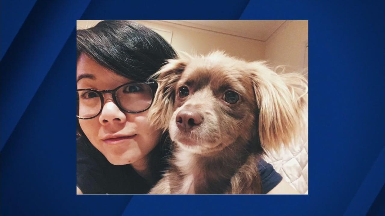 Lauren Jow appears in this undated image with her dog Charlie.