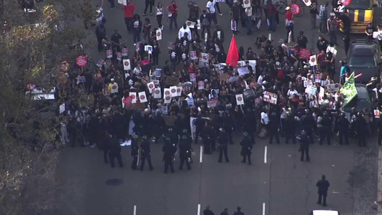 Hundreds of people, including many teenagers, marched against police brutality in downtown Oakland Wednesday afternoon.