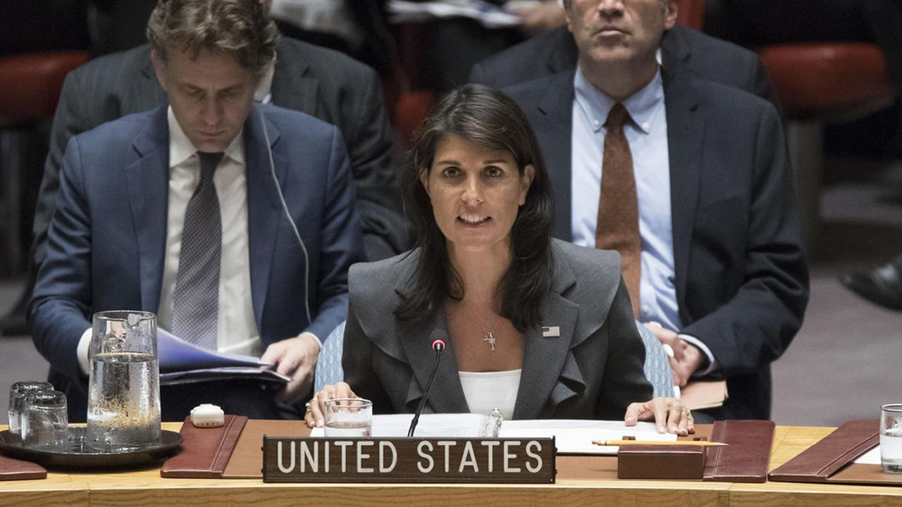Nikki Haley speaks during a Security Council meeting, Friday, June 1, 2018 at United Nations headquarters.