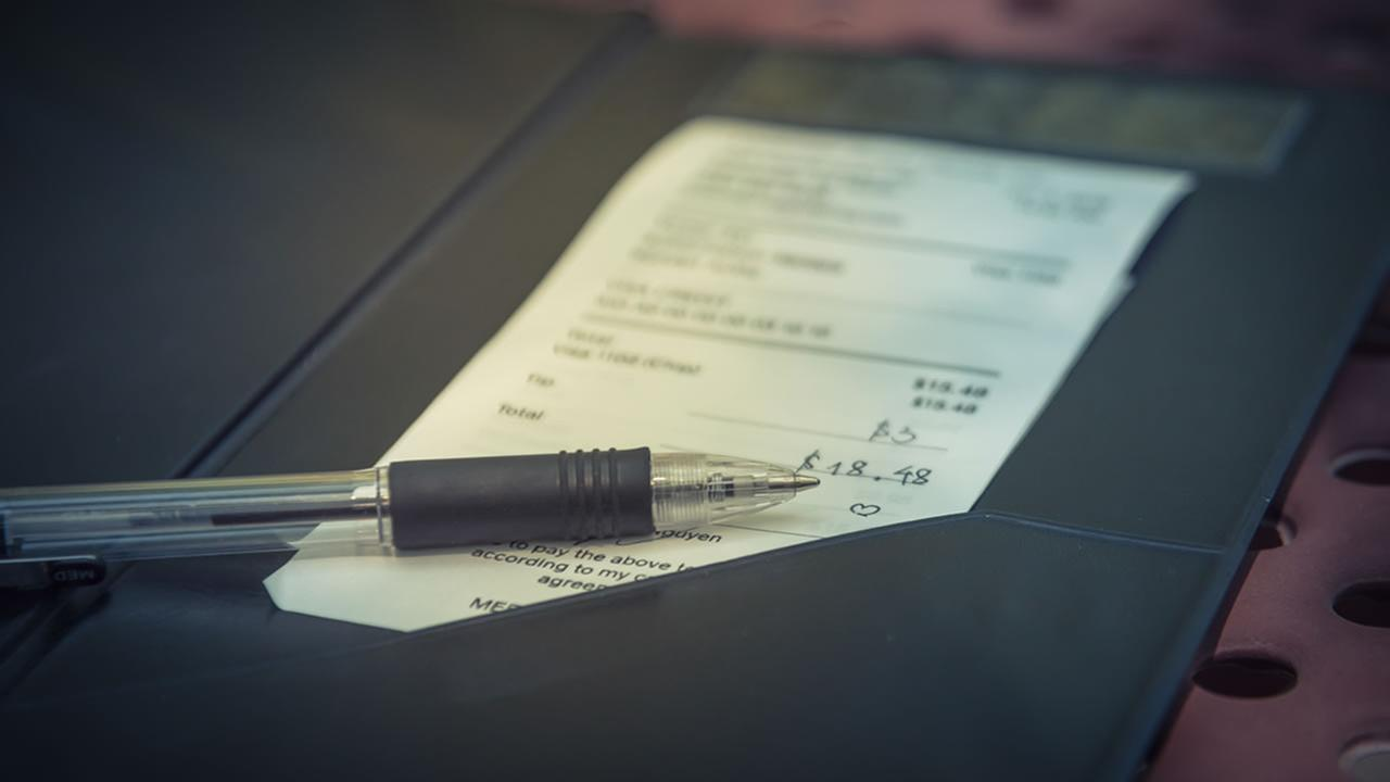 A restaurant check is pictured in this undated file photo.