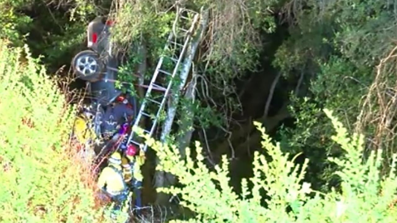 Man rescued from car that went down cliff in Santa Cruz County, California on Thursday, June 21, 2018.