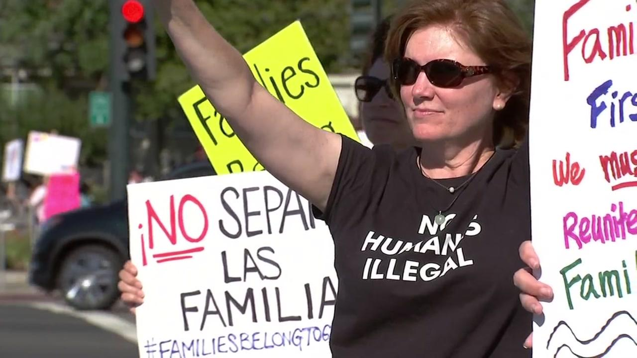 Protesters fight current immigration policy in Walnut Creek, Calif. on June 21, 2018.